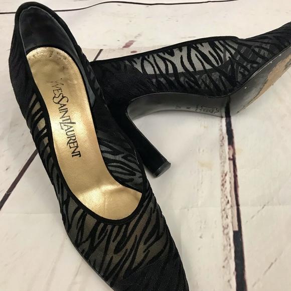 6e971e15b8f Yves Saint Laurent Shoes | Ysl Vintage Mesh Zebra Print Heels | Poshmark